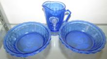 Vintage Shirley Temple Cobalt Blue Glass Two Cereal Bowls & Creamer Milk Pitcher, EC