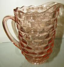 Fostoria American Pattern Pink Glass Pitcher, 8 1/2