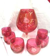 Cranberry Red Art Glass Pedestal Brandy Gin 9