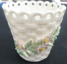 Irish Belleek Porcelain Basket Weave Pink/Yellow Flower Design Vase Pierced Top, 3 1/2