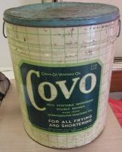 Covo Cream of Vegetable Oil Large Tin Shortening 110 lbs Vintage Antique, 20