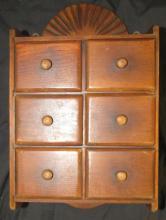 Vintage Spice Box Vintage Wall Shelf Primitive Wood Kitchen Counter, 6 Drawers, 13