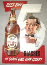 Vintage Old Shay beer Easel Back Cardboard Sign, Fort Pitt Brewing, Pittsburg, PA, EC Never Used