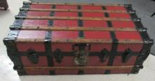 Antique Wooden Banded Trunk, EC, All Responsibility for Shipping will be the Successful Bidder. You must arrange for pickup directly or by a shipper within 7 days after sale.