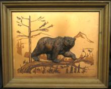 Vintage Copper 3D Plaque Bear  Wall Art Plaque, 16