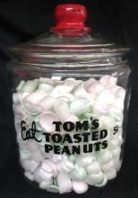 Vintage Tom's Roasted Peanuts Jar Embossed Candy Nuts Food Advertising, 10 1/2