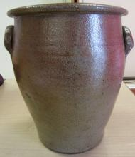 Antique Glazed Stoneware Crock With Ear Handles, Top Dia. 9 3/4