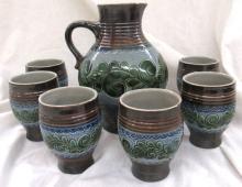 Vintage Salt Stoneware Wine Set w/6 Cups Pitcher Jug Stein, 7 3/4