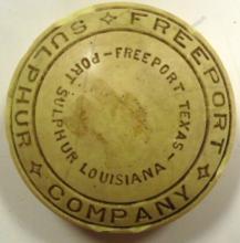 RARE Vintage Freeport Sulphur Company Mine Paper Weight, 3 1/4' Dia.