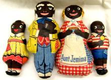 1948 Vintage Aunt Jemima Oil Cloth Doll Set, Aunt Jemima, Uncle Moses, Diana & Wade, EC
