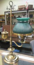 Vintage Brass Finish Light/ Student Library Desk Lamp w/Green Glass Shade, 20 1/2