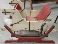 1950's Wooden Glider Rocking Horse White  Red Frame, 28