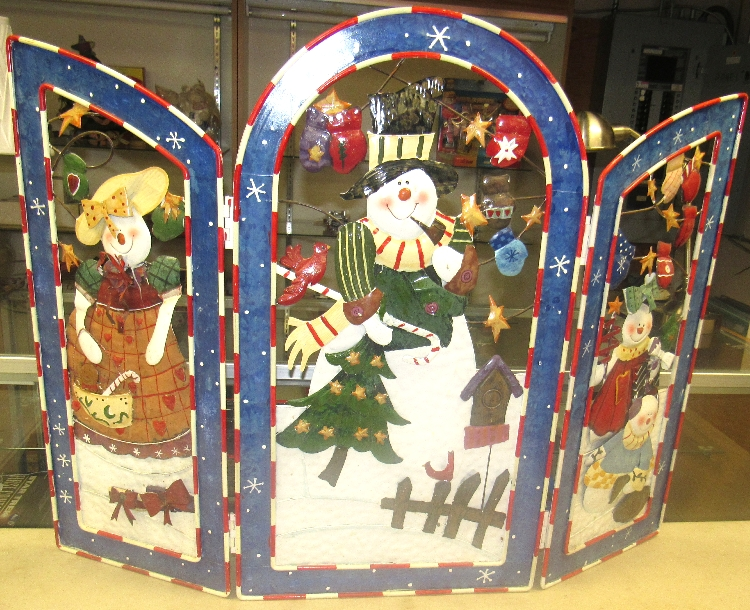 metal holiday christmas 3d fireplace screen cover snowman 19 12