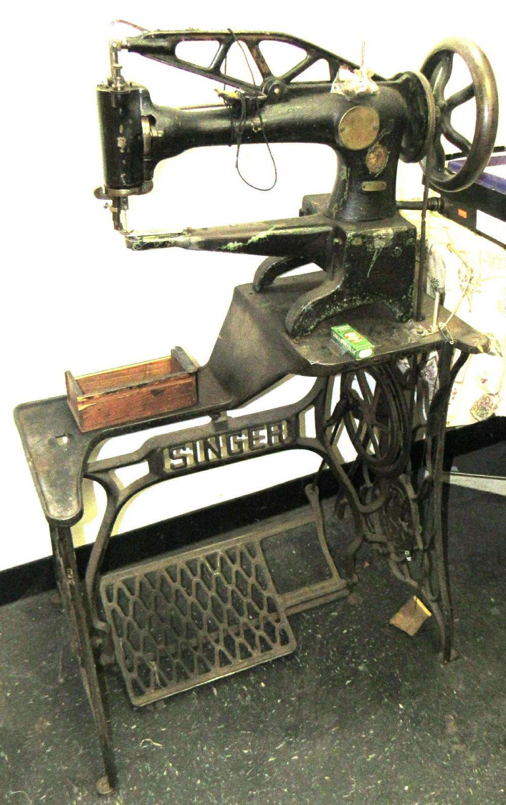Lot 190: Singer Industrial Cylinder Arm Leather Sewing Machine with Stand,  All Responsibility for Shipping will be the Successful Bidder  You must