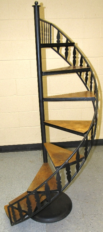 Wood and wrought iron spiral staircase display shelf all re - Spiral staircase wrought iron ...