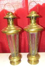 Two Nautical Candle Lanterns - Brass & Glass 6 Pane Etched Glass 12