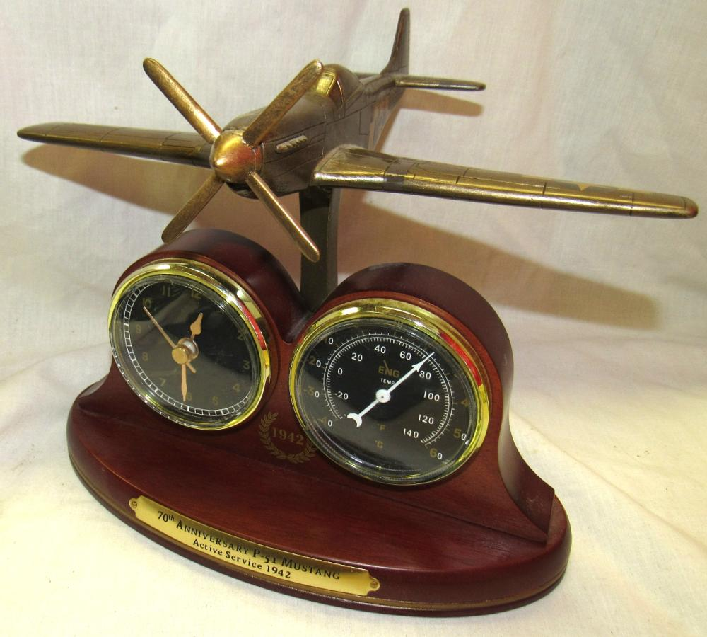 "70th Anniversary P-51 Mustang Thermometer/Clock Display Bradford Exchange, 7""H, EC"