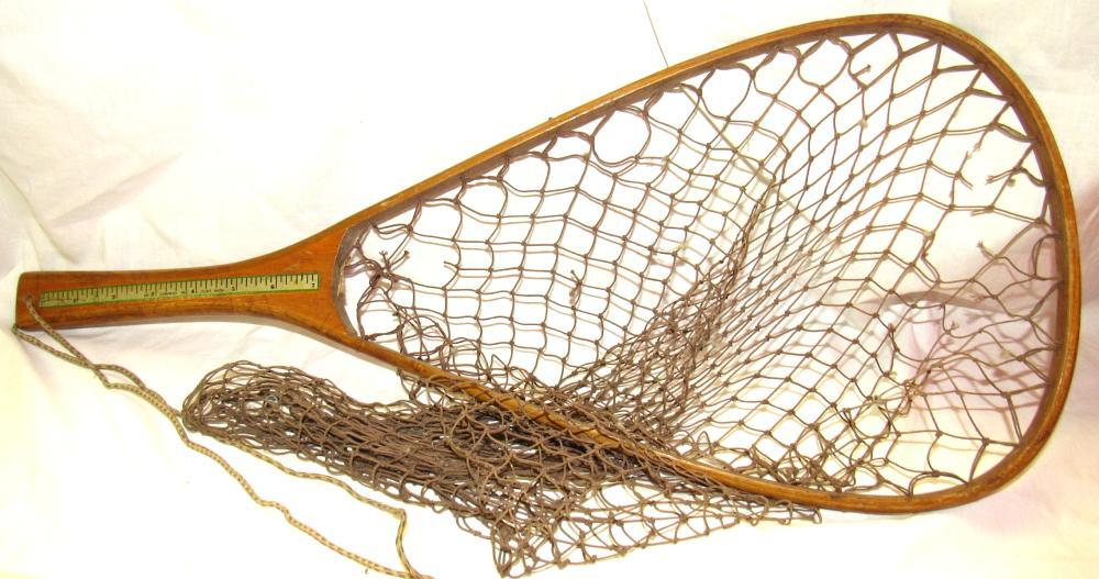 "Vintage Cummings Wooden Trout Fishing Landing Net, 24"" x 11"", VGC"