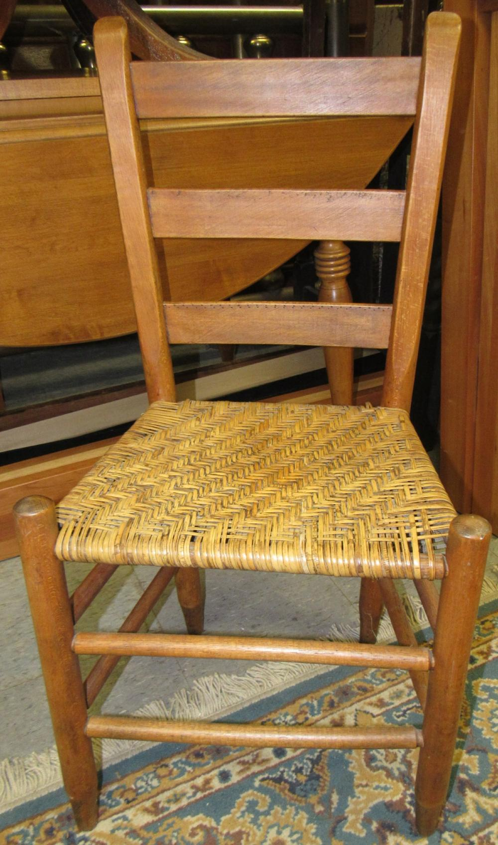Sold Price Vintage Ladder Back Wooden Side Chair Woven Cane Seat All Responsibility For Shipping Will Be The Successful Bidder You Must Arrange For Pickup Directly Or By A Shipper Within 7