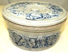 Vintage Robinson Clay Products, Akron, Ohio Colbalt Blue Embossed Butter Crock, 7