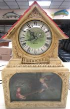 Haddon Clock Girl and Boy Seesaw Light Motion Decor Vintage Antique, New Clock Mechanism, Works, 10 1/2