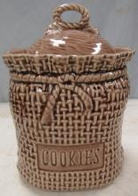 McCoy Cookie Jar 207 USA Burlap Bag Brown Sack Weave Rope With Lid, 6' dia x 9