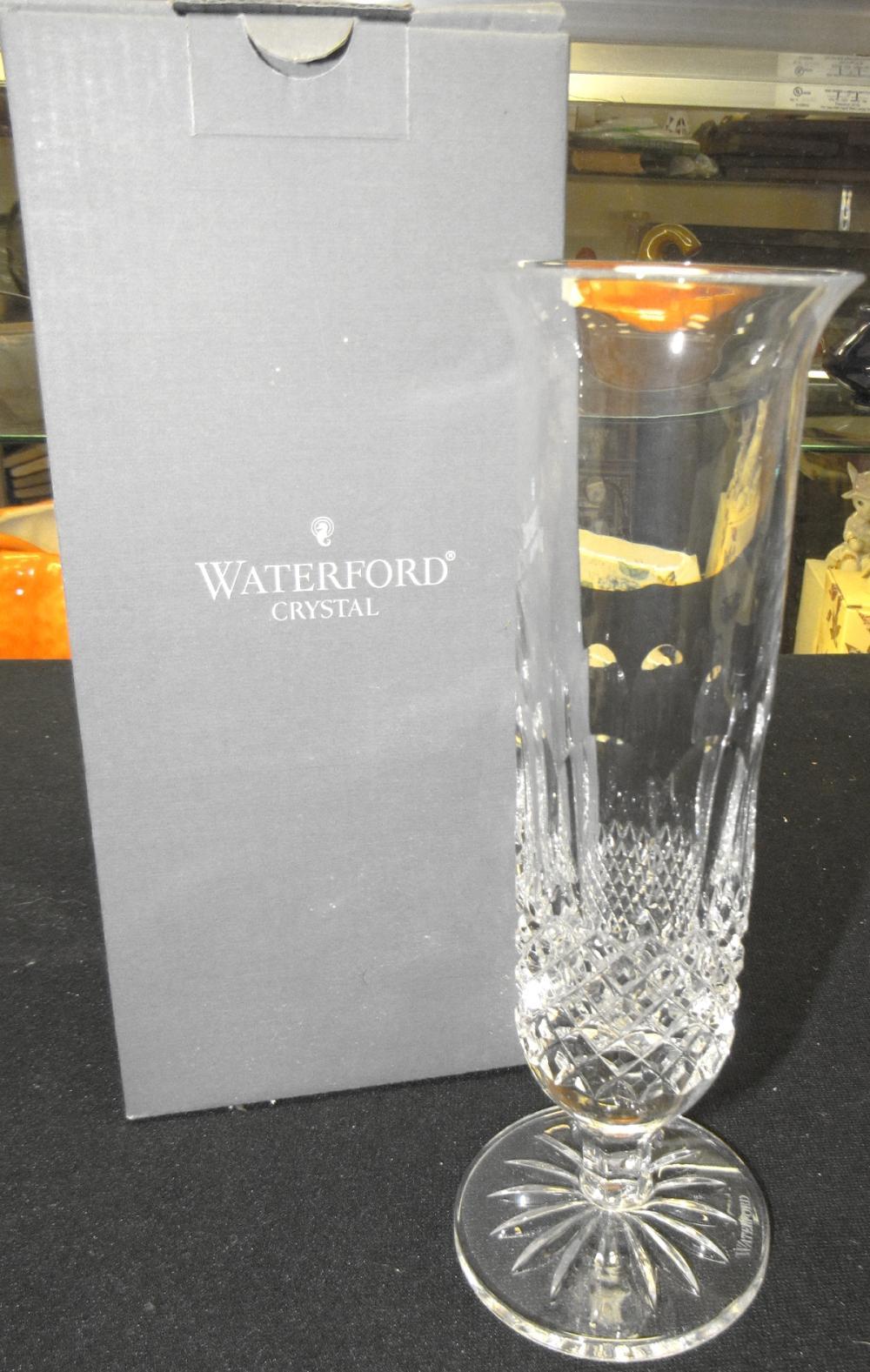 "Vintage Waterford Crystal Colleen Tall (1986-) Single Stem Vase 8"" , MIB"