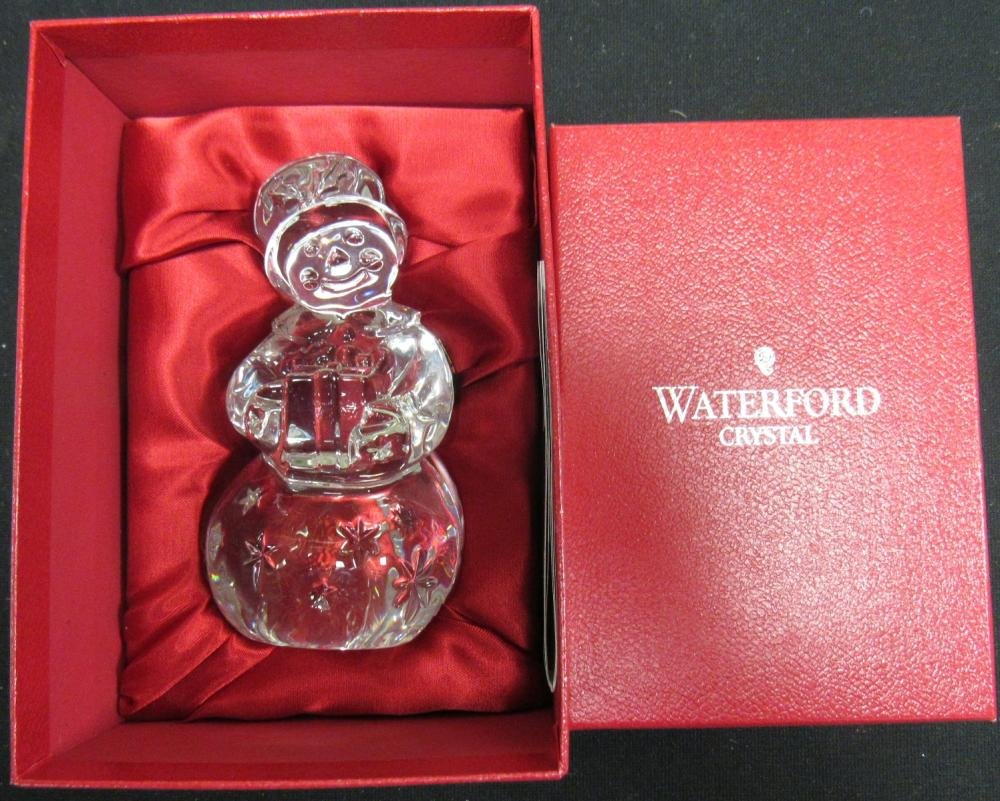 Waterford Crystal Large Crystal Snowman Figurine Paperweight, MIB