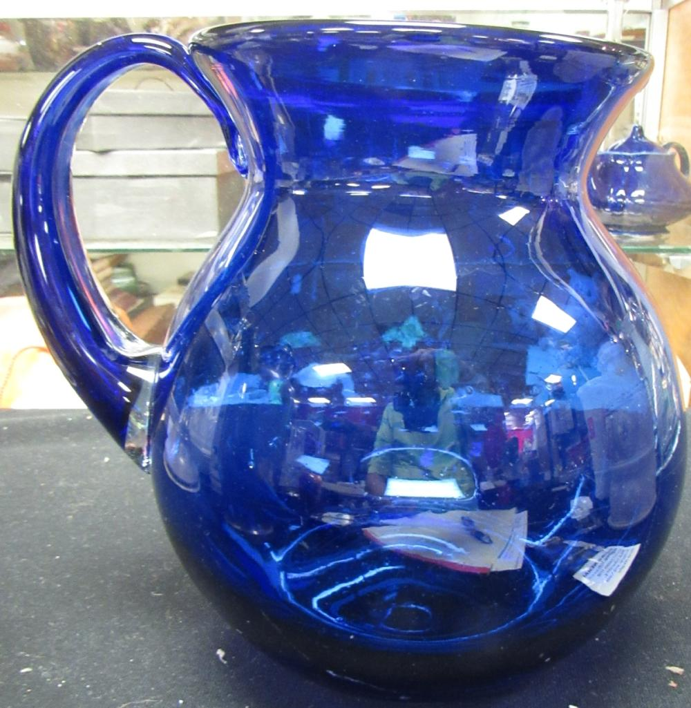 "Vintage Hand Blown Cobalt Blue Glass Pitcher,8""H, 52 oz., EC"