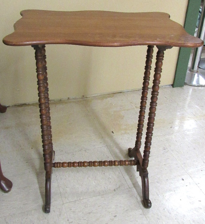 Spindle Leg Table #20 - Antique Spindle Leg Parlor Table, 16 X 23 X 28 1/2