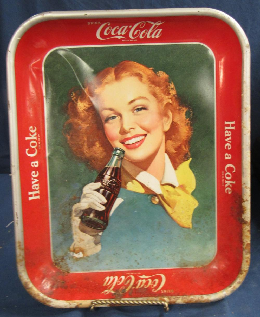 Vintage 1940's Coca-Cola Advertising Tray Pretty Red Head Gi