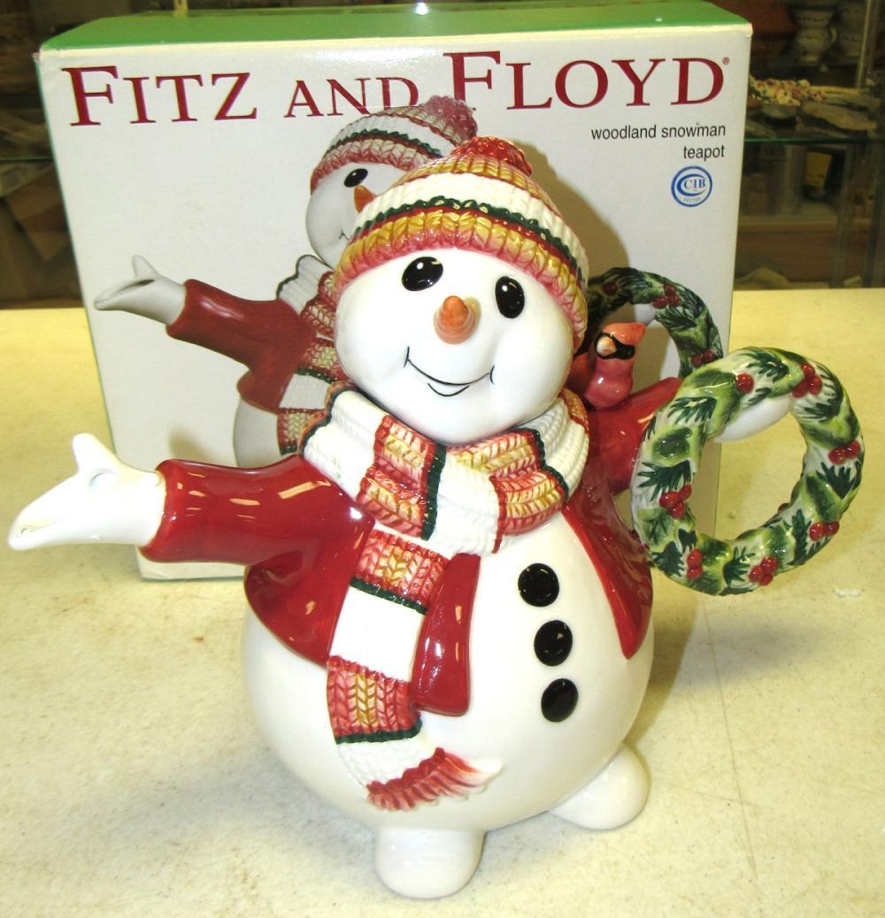 Fitz & Floyd Christmas Teapot Woodland Snowman, MIB