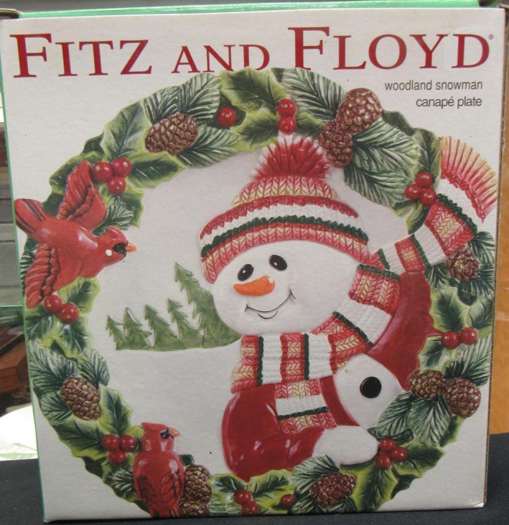 "Fitz And Floyd Woodland Snowman Canape Plate 9"" Christmas Dish, MIB"