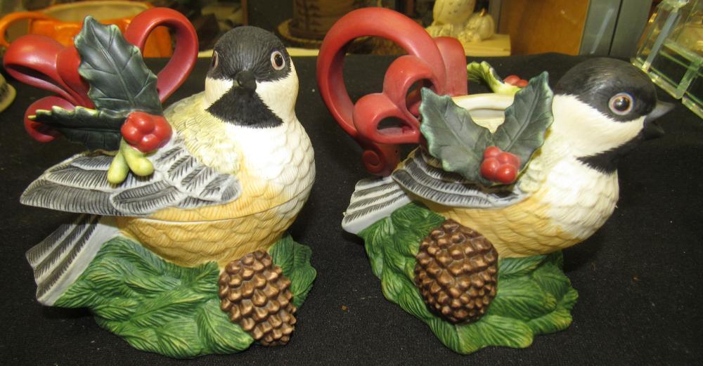 Lenox Winter Greetings Chickadee Sugar Creamer Set, Mint