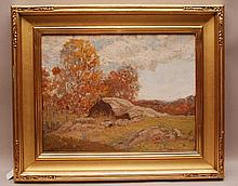 """Orrin Sheldon Parsons (American 1866 - 1943) oil on relined canvas, Fall Landscape, signed Orrin S Parsons '03 lower left, partial Doyle label on reverse, 14"""" x 18"""""""