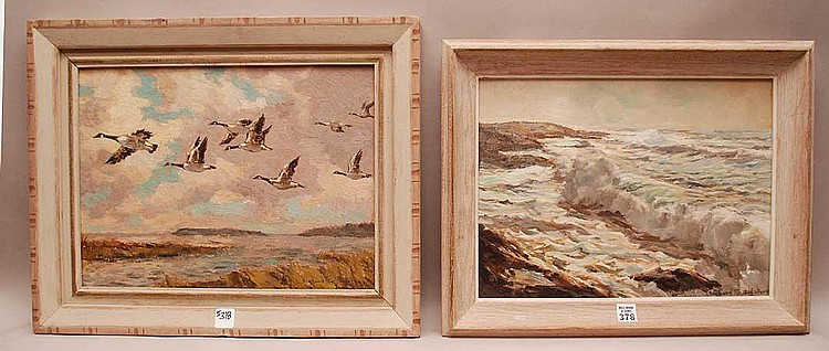 2 Paintings by Richard Sigafoos (American 20th century) oil on board, seascape & flying geese, both 12