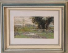 Hugh Bolton Jones (American 1848 - 1927) Landscape Pastel. Signed, 5-1/2 x 9-1/2 inches