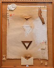 """Modern mixed media construction, by Jaroslav Bradac, reverse side has Zack/Shester gallery label also titled """"Triangular Heat"""" & dated 1980, 38"""" x 26"""""""