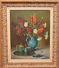 Robert Alexander Graham (American, 1873-1946) Flowers in a Blue Vase, oil on canvas signed Robert A. Graham (lower left) 30 x 24 inches.