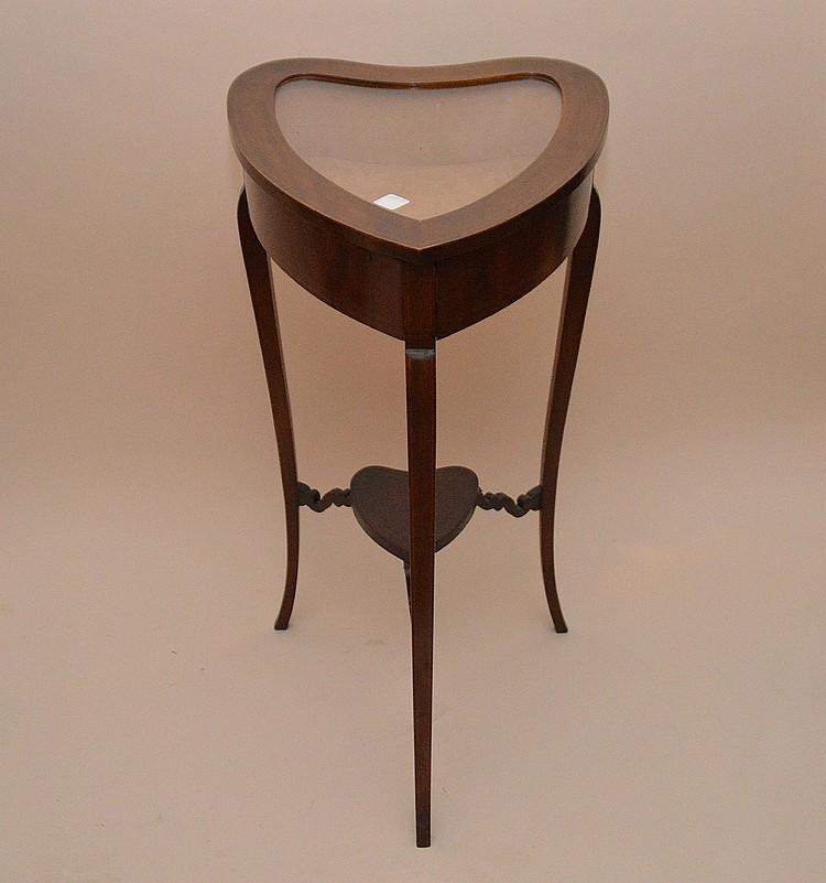 Antique French Heart Form Vitrine Mahogany Glass Ht 30
