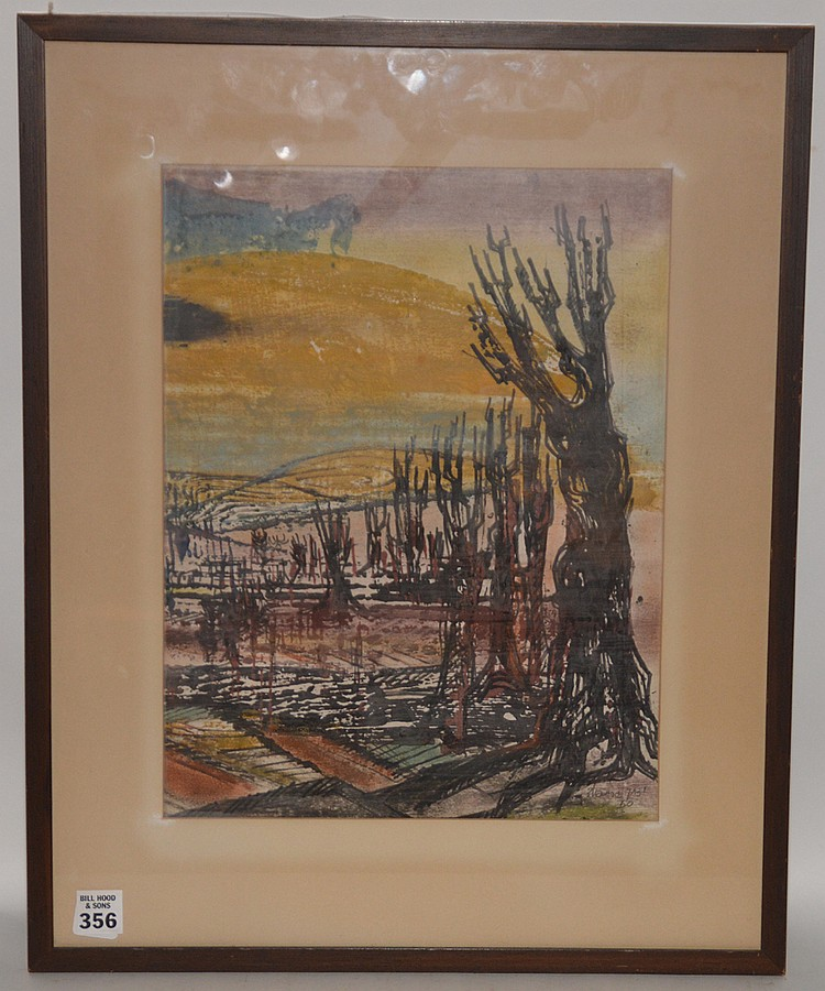 Yitzhak Greenfield  (born 1932)  Mixed media on rice paper, dated 1960, Landscape in Galilee, signed, 14in. x 11in.