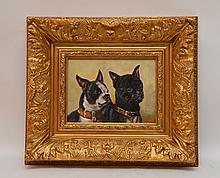 Bart Schouten Leroy (Dutch 20th Century) oil on board, 2 black & white Dogs, 7in. x 9-1/2in.
