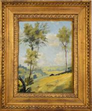 Louis Michel Eilshemius (American 1864 - 1941) oil on canvas, Landscape with figure on hillside w/ farm/home in background, NYC gallery label and partial adsworth Atheneum Museum labels on reverse, 12-1/4 x 9-1/4 inches