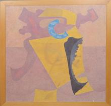 """ORLANDO SOBALVARRO (1943) Nicaragua, 20th Century Untitled, 1999 Acrylic on Canvas Abstract painting with shapes in pink, yellow, and blue. Signed and dated upper left: """"Sobalvarro, 99"""". H. 40"""" x W. 40"""" Condition: Good"""