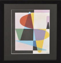 Etienne Beothy (Hungarian 1897 - 1961) Gouache on paper Abstract Composition, 16-1/2 x 11-1/2 inches