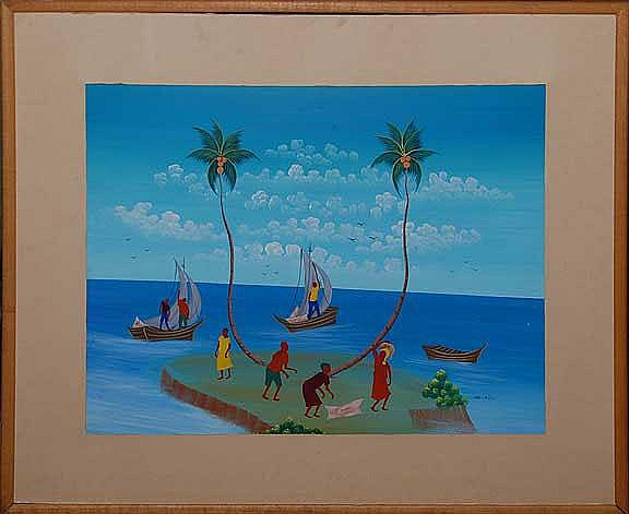 Gabriel Alix (1930-1998) St. Marc, Haiti, oil on