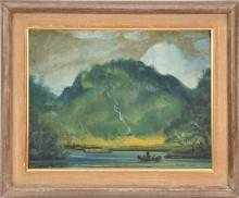 Louis Michel Eilshemius (American 1864 - 1941) oil on paper laid on board, landscape man on rowboat, paper damaged on edge, 9 x 12 1/4 inches