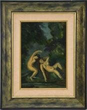 Louis Michel Eilshemius (American 1864 - 1941) oil on board, Bathers, 11-1/2 x 8 inches