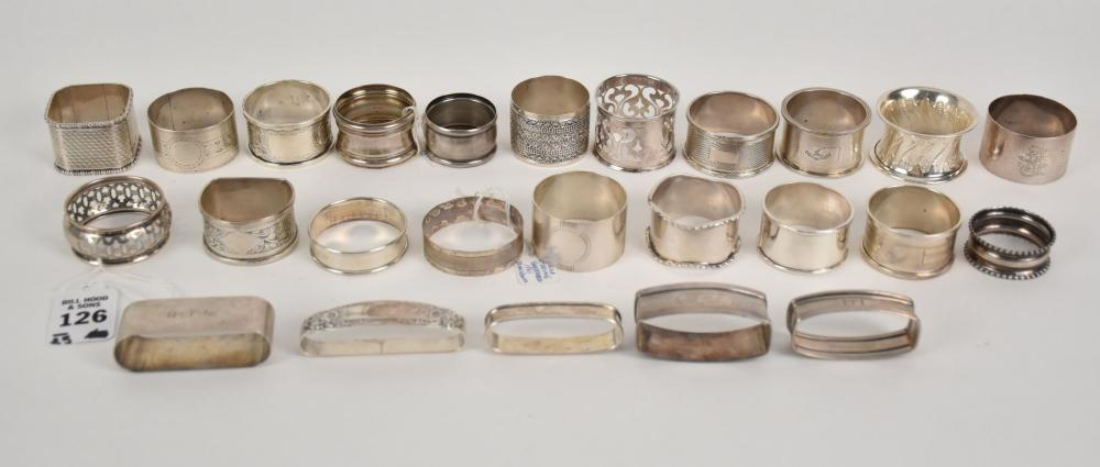 Group of 25 Sterling Silver Napkin Rings - 25 sterling napkin rings of mostly English origin, a few American examples. Both antique and vintage pieces. Total weight - 16.5 Troy Oz