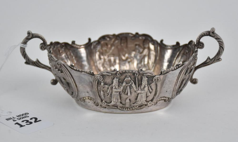 Early Silver Double-Handled Cup with Religious Legendary Figures -